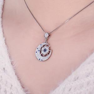 Image 4 - JPalace Moon Star Created Spinel Pendant Necklace 925 Sterling Silver Gemstones Choker Statement Necklace Women Without Chain