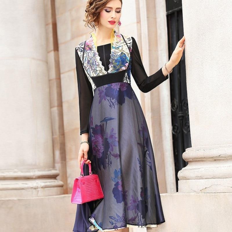 Spring print dresses Spring 2019 new Women Long Sleeve Vintage dress Plus Size 3xl Empire Summer
