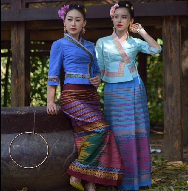 South East Asia Ethnic Dai Princess Dress Women Sprinkler Festival Suits Dai Traditional Clothing Summer Half Sleeve Top + Skirt
