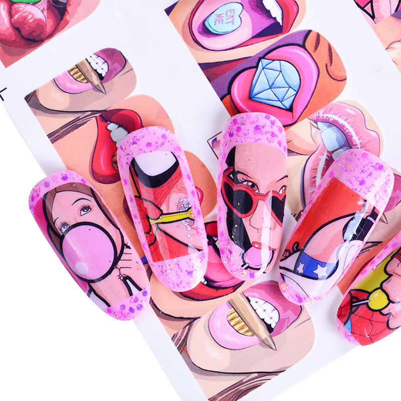 12 Designs Pop Art Decal DIY Water Transfer Nail Art Sticker Full Wraps Colorful Tips Sexy Lips Decorations Manicure SABN349-360 1 sheet water transfer nail art sticker decal galaxy space 3d print manicure tips diy nail foils decorations 8178