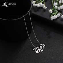 My Shape Eco-friendly Stainless Steel Wolf Animal Geometric Fashion Necklaces for Women 2018 Statement