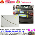 High Quality For VW Skoda Superb 2016 car body detector stainless steel Rear door Tailgate frame plate moulding trim lamp 1pcs