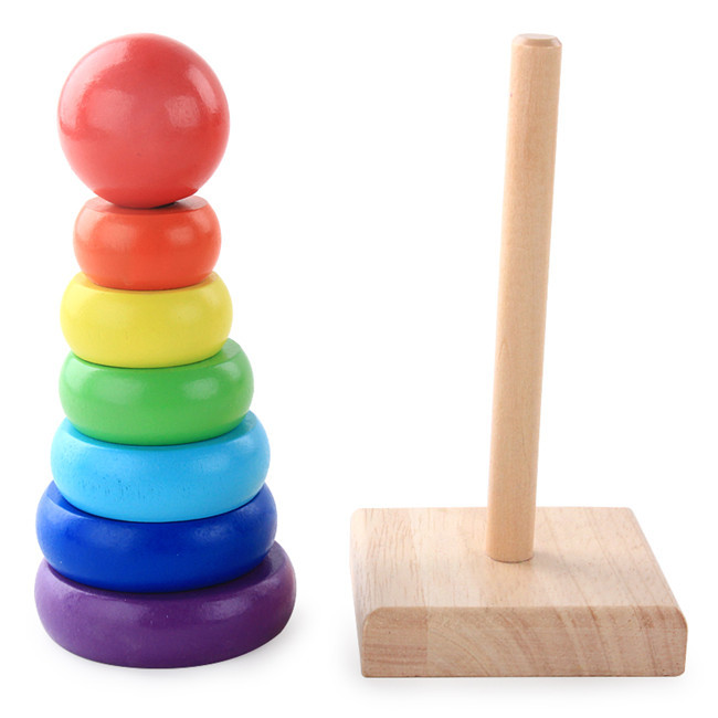 Us 421 14 Offactionbabei High Quality Kid Baby Wooden Stacking Stack Up Rainbow Tower Ring Educational Toy Stacking Blocks Gift For Children In