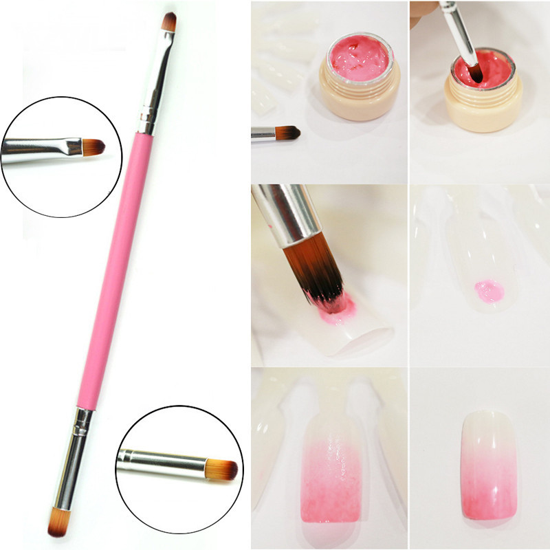 LCJ 1 Pcs New Dual-use Nail Art Brush / Manicure Gel Polish Brush / Gradual Color Blooming Nail Drawing Pen 01