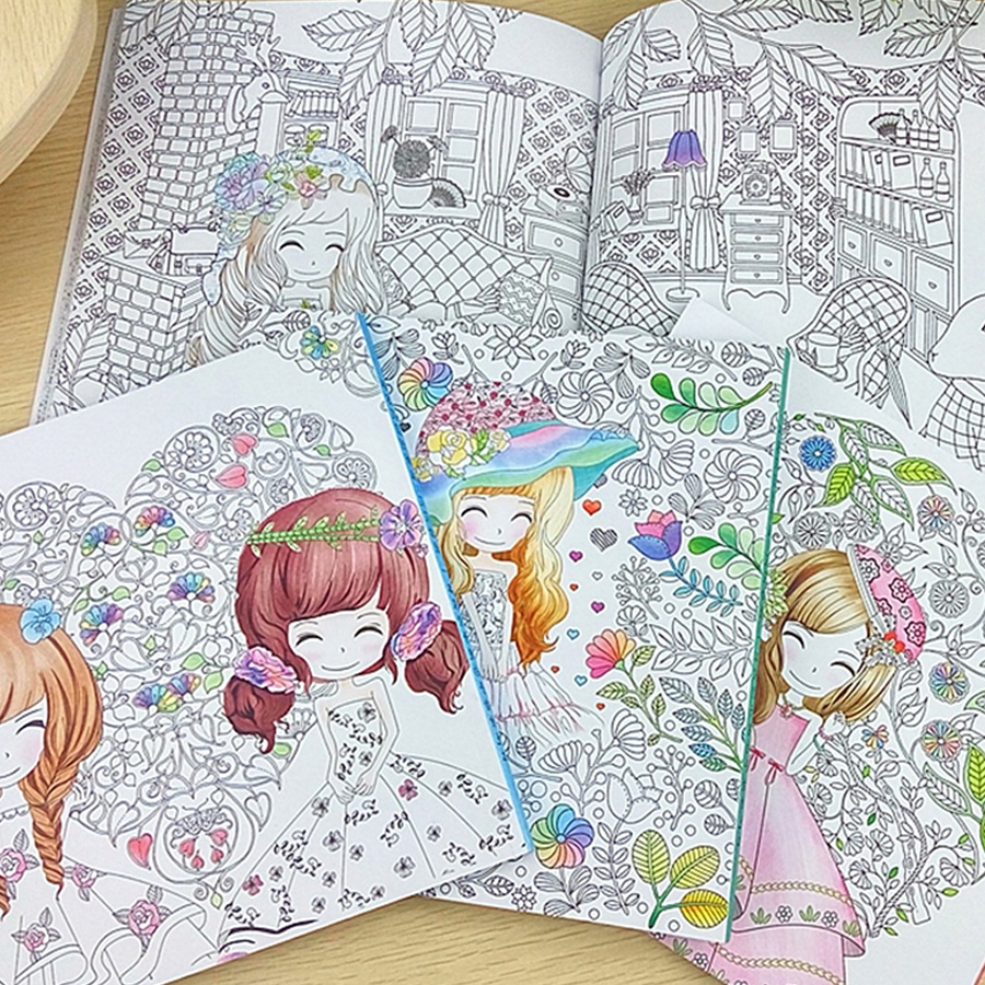 48 Pages Beautiful Flower Girl Antistress Coloring Books For adults ...