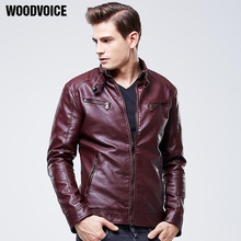 Mens Leather Jackets and Coats Pu Leather Jaqueta Couro Masculina Jacket Man Jaqueta De Couro Red Coffee Black Color Leather 609