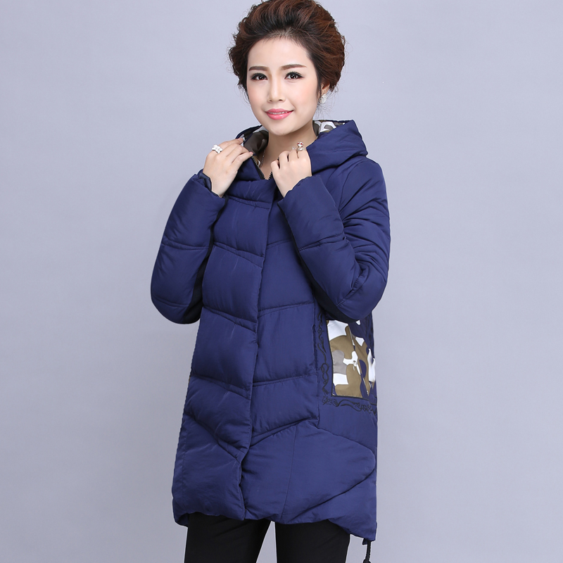 2017 Winter new middle-aged women in the cotton-padded jacket long warm mothers coat large yards thick down jacket цены