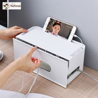 Multifunction Mobile phone holder and storage box plastic Organize the desktop Wire finishing storage organizer box for bedroom