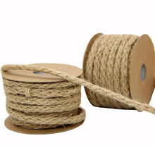 10M/Roll 0.6CM Vintage Handcraft Weave Hemp Rope Wedding Party/Picture Wall DIY Decorative Knitting Cords Gift Packing String(China)