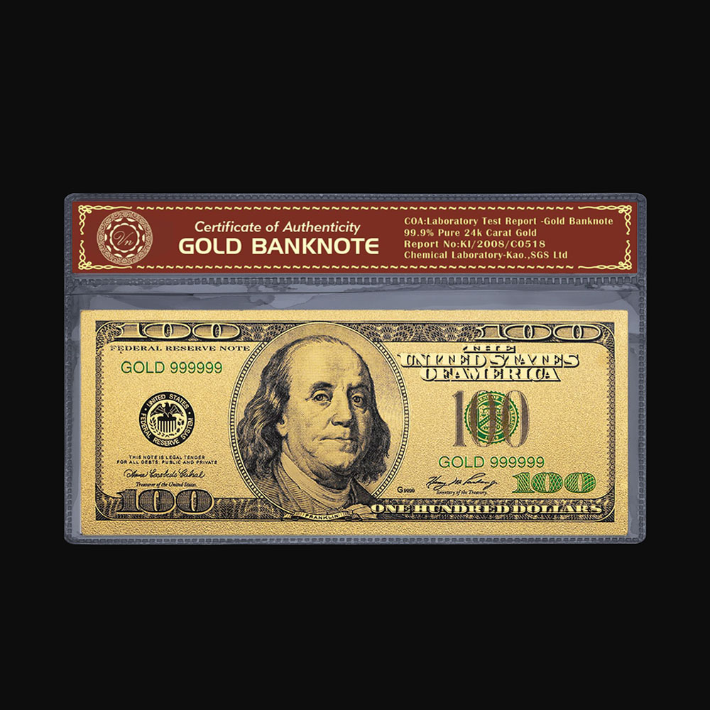 24k Gold Plated Banknote Copy Paper Money USD <font><b>100</b></font> <font><b>Dollar</b></font> <font><b>Bills</b></font> Gold <font><b>Bill</b></font> Collection Decoration USD Money Collection image
