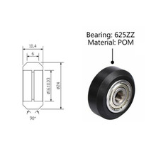 10Pcs/Slot Plastic Wheel Pulleys Ball Bearings 3D Printer Parts Round Gear Perlin Part V Type linear bearing Parts & Accessories