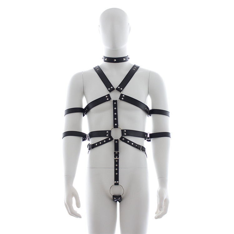 Male Sexy Lingerie Fetish Bondage Restraint PVC Leather Harness Men Clubwear with Collar Cock Ring Bodysuit