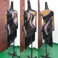 Новые латинский танец платья Стандартный с длинным рукавом SS20 AB Камни этап Одежда для танцев индивидуальный заказ пикантные черные женские