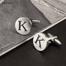 Запонки «Алфавит» lepton с надписью k of an для мужчин посеребренные