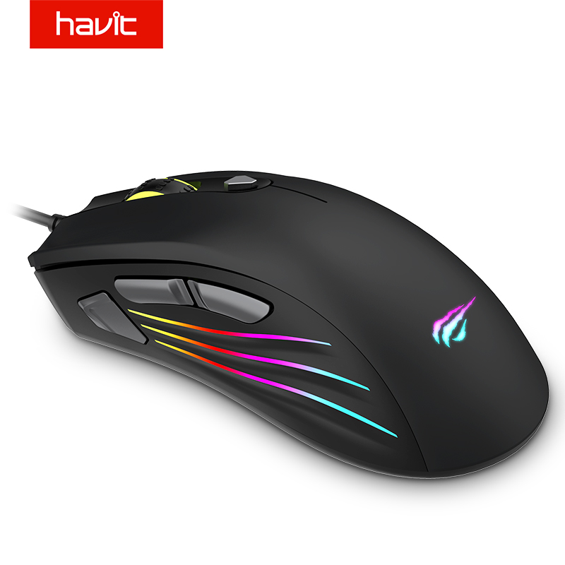 7200 DPI Ergonomic Optical Gaming Mouse Wired Programmable Buttons RGB Backlit