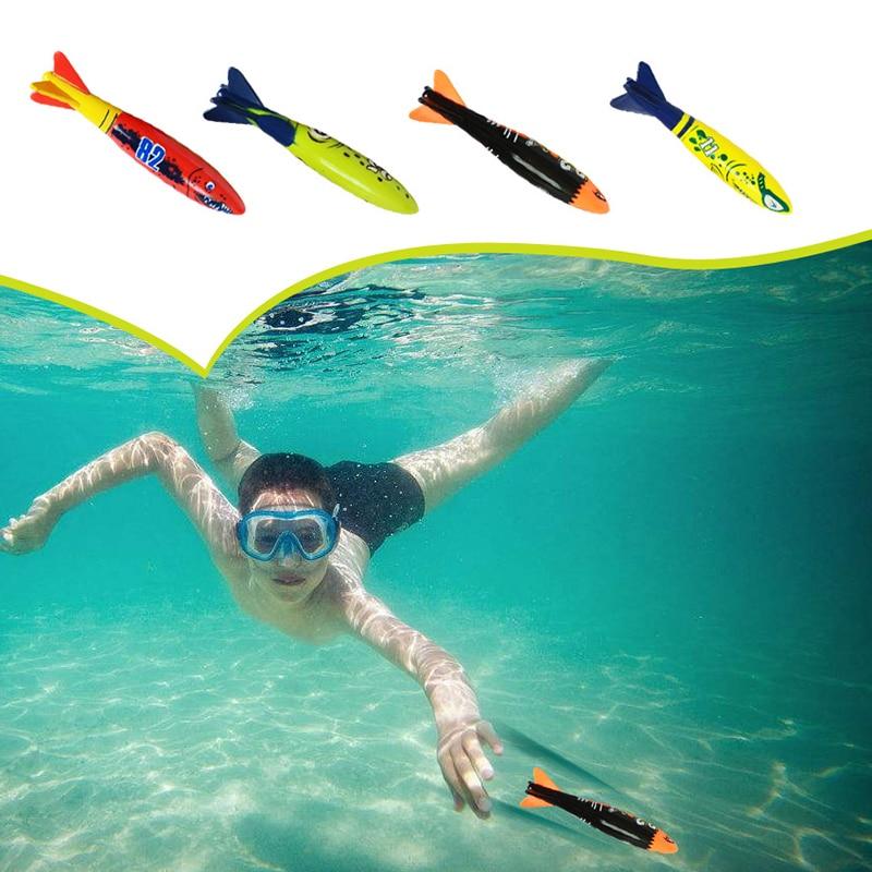 4 Pcs/Pack Torpedo Rocket Throwing Toy Swimming Pool Diving Game Summer Torpedoes Bandits Children Underwater Dive Sticks Toy