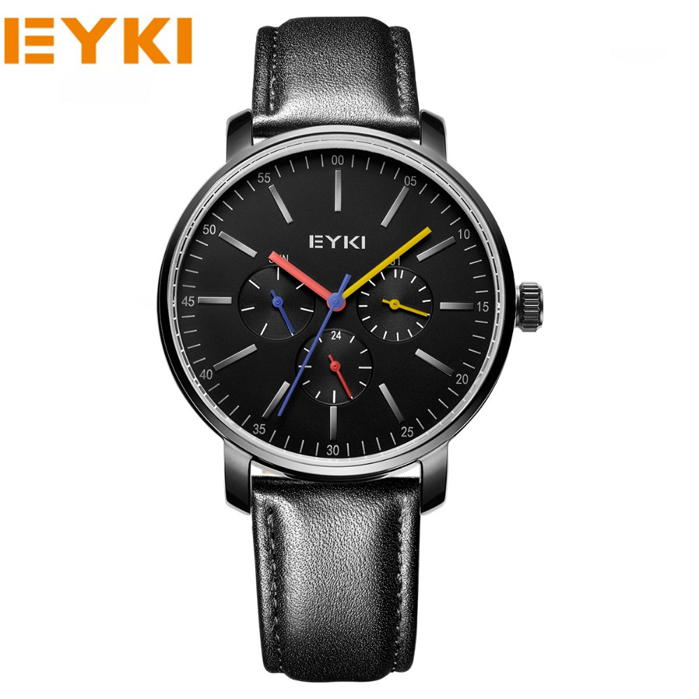 EYKI Men Sports Luxury Brand Genuine Leather Watches Business And Casual Quartz Wristwatch Male Gold New 2017 eyki top brand men watches casual quartz wrist watches business stainless steel wristwatch for men and women male reloj clock