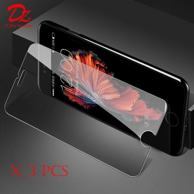 3 piezas para iphone X 8 Plus para Apple iphone 6 6s 7 Plus Protector de pantalla de cristal templado de cine 9 H 2.5D arco de vidrio