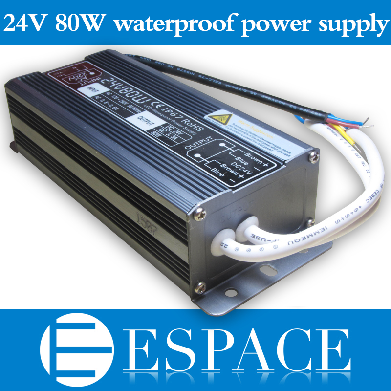 10pcs/lot IP67 24V 3.3A 80W AC100-240V Input Electronic Waterproof Led Power Supply/ Led Adapter 24V 80W free DHL dhl led power supply waterproof 150w 12v 24v rohs ce ip67 dhl fedex free shipping 5pcs lot