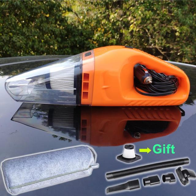2 HEPA Filter + Bag, 12V/120W Portable Car Vacuum Cleaner Wet and Dry Dual Use Super Suction Hand-held Car Cleaner