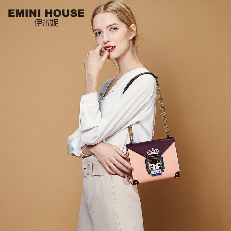 EMINI HOUSE sac Style indien sacs Messenger femme sac bandoulière cuir fendu pour femme sac bandoulière Chic chaine Design Original