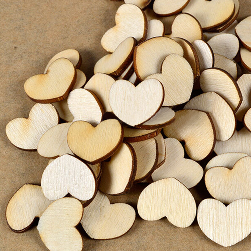 WHOLESALE PRICE 100Pcs/lot Heart Blank Unfinished Natural DIY Craft Supplies Wooden ScrapBooking Craft Wedding Decoration