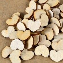 Venta al por mayor precio 100 unids/lote Corazón en blanco sin terminar manualidades naturales DIY suministros madera ScrapBooking artesanía decoración de boda