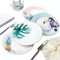 Bone China Bird Dinner Plate Hand printed Plant Steak Dishes 8 Inch Food Tray Porcelain Nordic Style Dish Pasta Plate 1 pcs