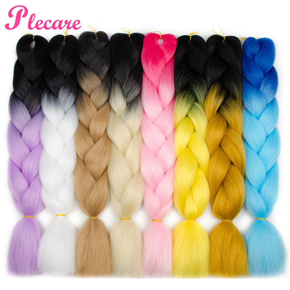 Plecare 24'' Jumbo Braids Hair Synthetic Kanekalon Ombre Braiding Hair Extension 1piece/lot Crochet Hair Expression Fiber Braid