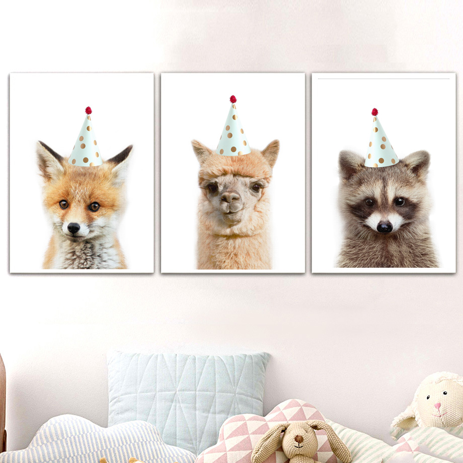 Punctual Llama Raccoon Fox Cap Wall Art Canvas Painting Nordic Posters And Prints Animal Wall Pictures For Living Room Bedroom Home Decor Crazy Price Home Decor
