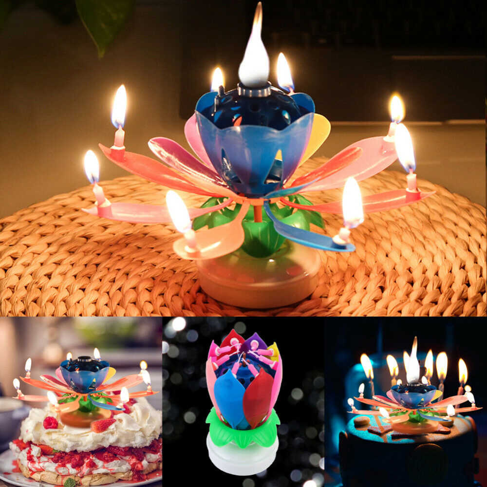 Beautiful Blossom Lotus Flower Candle Birthday Party Cake Music Sparkle Cake Topper Rotating Candles Decoration