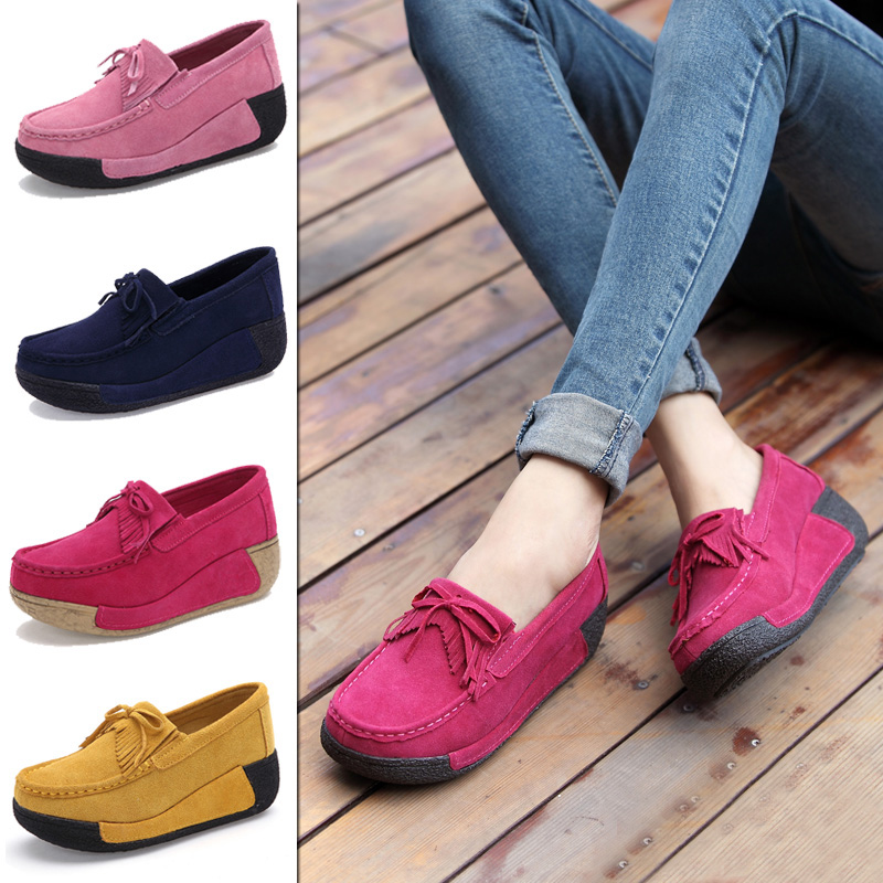 Chic Women Spring Breathable Wedge Heels Sneaker Breathable Loafers Shoe Slip On