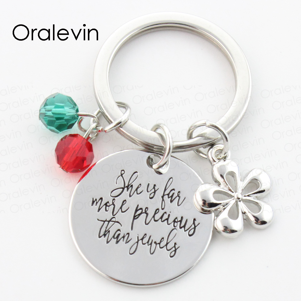 SHE IS FAR MORE PRECIOUS THAT JEWELS Engraved Pendant Flower Charms Keychain Gift for Her Jewelry 22MM,#LN198K