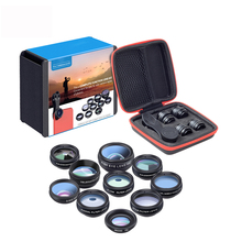 Phone Lens  Kit  Universal 10 in 1 Fisheye Wide Angle Macro Lens CPL Filter Kaleidoscope+2X Telescope Lens for Smartphone цена и фото
