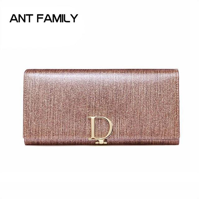 Fashion Shining Genuine Leather Women Wallet Long 3 Fold Cellphone Purse Female Clutch Ladies Leather Wallet portefeuille femmes
