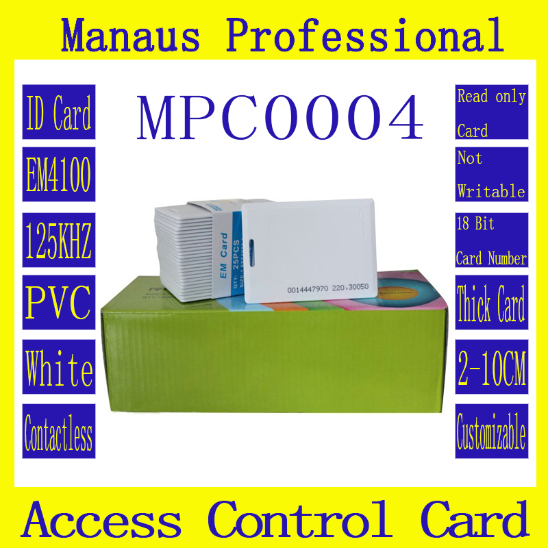 50Pcs High Quality White PVC RFID 125khz Chip EM Cards Tag Proximity Access Control Card Smart ID Token Wholesale C4-2