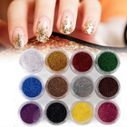 12 Pcs Mixed Color Glitter Dust Powder Set for Nail Art Acrylic Tips Decoration