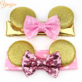 10pcs/lot Baby Girls Glitter Metallic Glod Minnie Mouse Ears With 4'' Glitter Sequin Bow Metallic Dot Elastic Headband Hairband