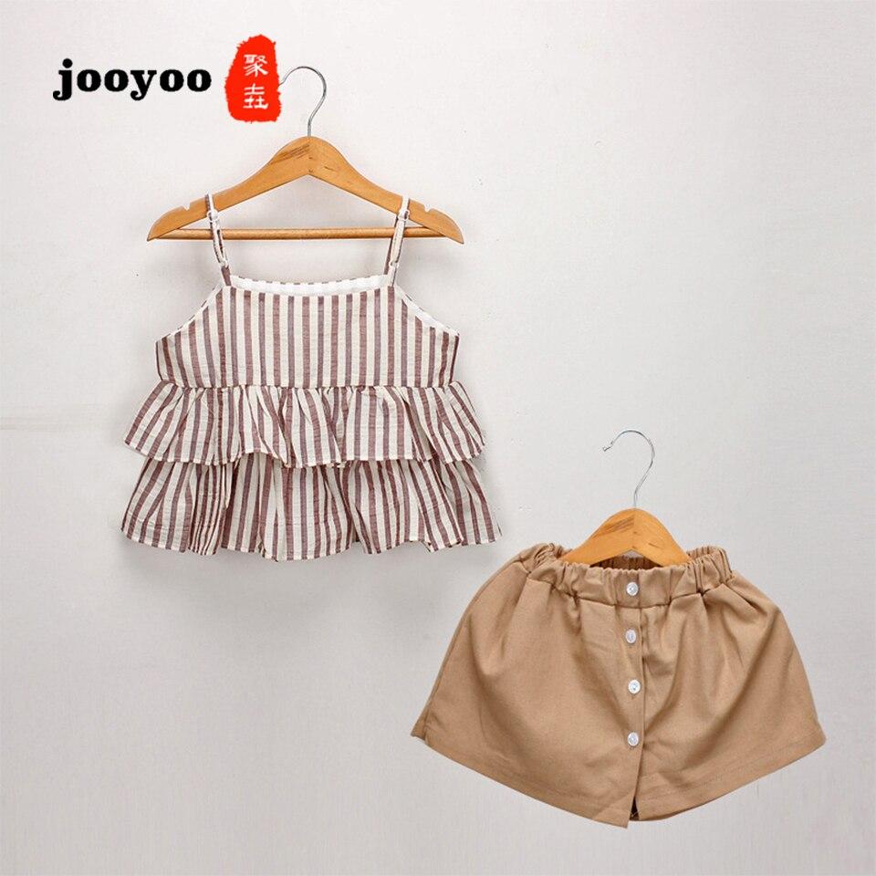 Summer Baby Girl Clothes Set 2pcs Kid Striped Suspender Skirt+Culottes Cotton Girls Dress jooyoo