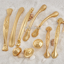 Top Designed 10PCS European Golden Kitchen Door Furniture Handles Cupboard Wardrobe Drawer Wine Cabinet Pulls and Knobs