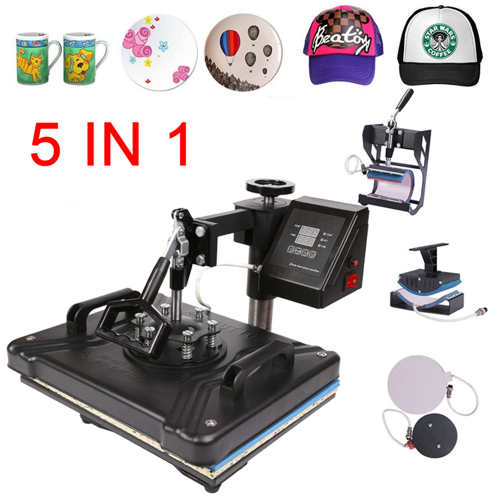 Factory Double Display 30*38CM 5 In 1  Sublimation Printer Combo Thermal T-shirt Heat Press Machine For Plates/Cap/Mug/Phone
