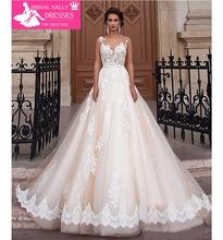 New Arrival Sexy A-Line Lace Wedding Dress 2017 Romantic Robe De Mariage Vestido De Noiva Sheer Backless Bride Dresses WJEN3