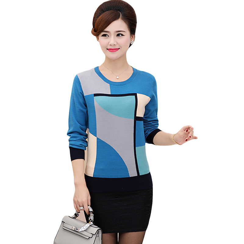 2018 Spring Autumn Loose Geometric Print Sweater Women Casual Knitted Long Sleeve Sweater Plus Size Pullovers Sweater YP1061 3