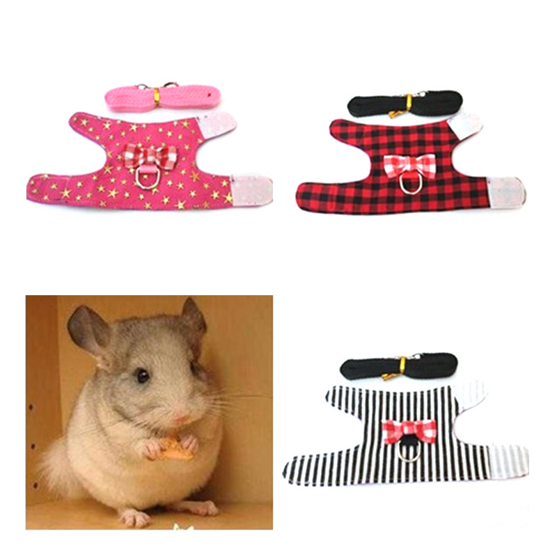 Small Pet Rabbit Harness Vest And Leash Set For Ferret Guinea Pig Bunny Hamster Rabbits Puppy Kitten Bowknot Chest Strap Harness