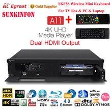 2017 новые egreat A11 4 К UHD media player hi3798cv200 2 г/16 г 2T2R WI-FI Gigabit LAN HDR10 blu-ray 3D Dolby Smart Media Player