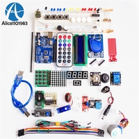 1 Set Starter Kit Basic Learning Suite UNO R3 DIY Kit Upgraded Stepper Motor LCD1602 LED Jumper Wire For Arduino Electronic Kit