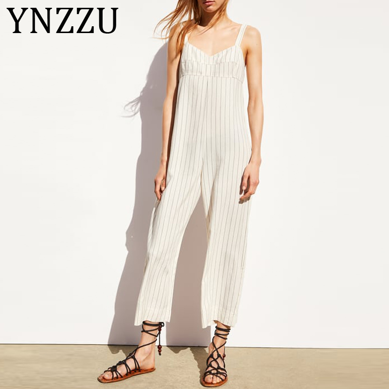YNZZU Casual Striped Strap Jumpsuit Women 2019 Summer V Neck Rompers Womens Jumpsuit Bodysuit Loose Female Overalls AJ035