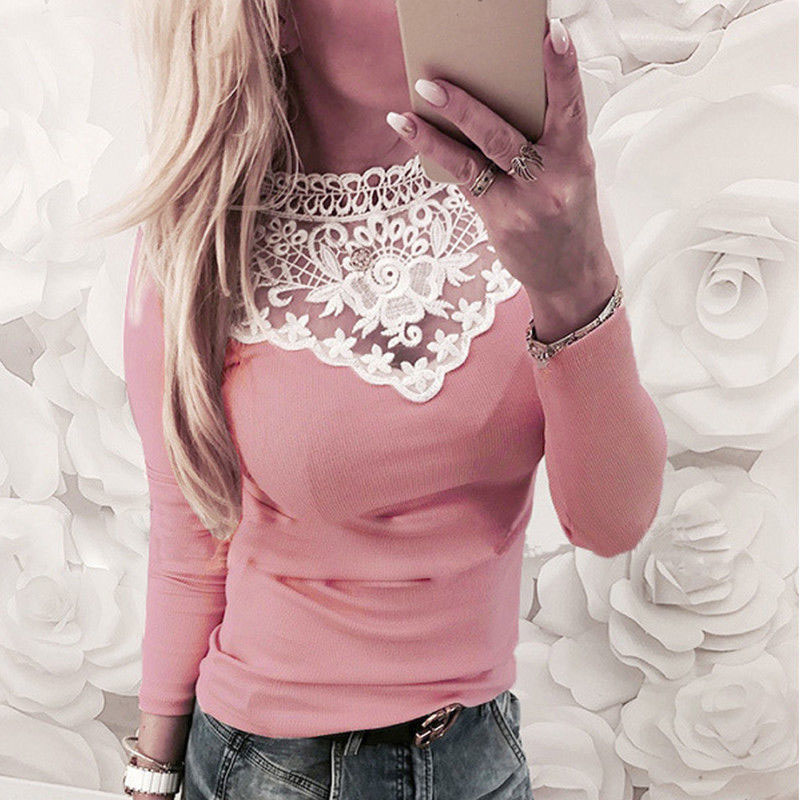 Top Fashion 2019 ZANZEA Summer Women Casual Solid O Neck Long Sleeve Lace Croceht Patchwork Slim Stretchy Party   Blouse     Shirts