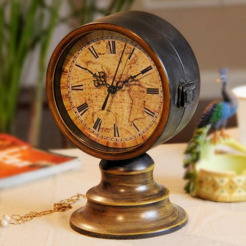 Retro Table Clock Antique Relogio Vintage Home Decor Metal de doble - Decoración del hogar - foto 2