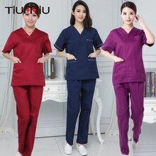 Новое поступление, высокое качество, униформа доктора и медсестры, унисекс, летняя, v-образный вырез, больница, салон красоты, скраб, наборы, хирургическая медицинская форма